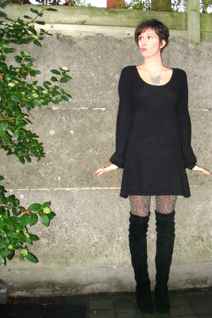H&M dress - Sacha boots - H&M tights - accessories
