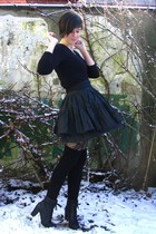 black boots - black sweater - black tights - black socks - black skirt