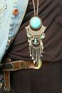 Black-dress-black-boots-blue-jacket-blue-necklace-brown-belt