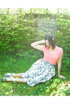 tan coat - chartreuse clogs - salmon t-shirt - sky blue skirt