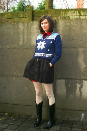 navy sweater - red dress - black skirt - eggshell tights - black boots