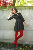 beige jacket - black shoes - black dress - red tights - purple accessories