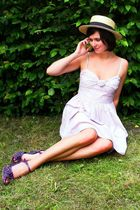 purple shoes - pink dress - yellow hat