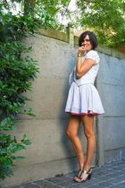 pink shorts - silver shoes - white blouse - gray vest - gray skirt