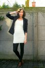 Ivory-dress-black-tights-dark-brown-shoes-ivory-accessories-black-blazer