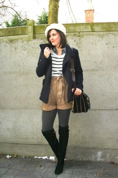 heather gray sweater - camel shorts - gray tights - black boots - navy jacket -
