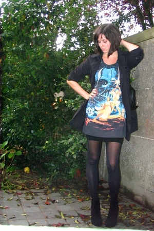 black Pimkie coat - black H&M boots - black H&M dress - black tights