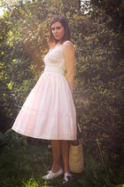 light pink dress - white accessories