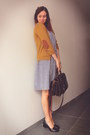 Black-loafers-navy-dress-dark-brown-bag-mustard-cardigan