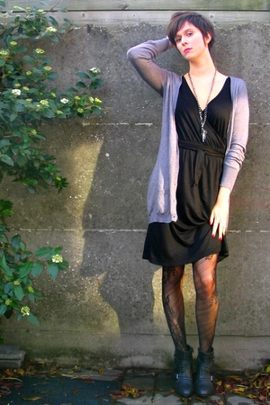 dress - sweater - tights - boots - accessories