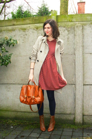 brown boots - brick red dress - tan coat - navy tights - tawny bag
