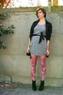 Gray-dress-black-boots-pink-tights-black-coat-black-belt