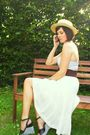 Blue-top-white-worn-as-skirt-dress-black-shoes-purple-belt-yellow-hat