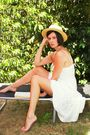 White-dress-yellow-hat-gray-shoes-white-belt