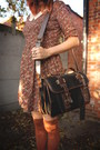 Brick-red-dress-cream-hat-black-bag-burnt-orange-accessories
