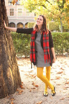 black coat - red scarf - mustard accessories - off white accessories