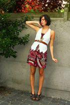 pink dress - white vest - brown shoes - brown belt - gold necklace