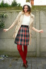 Crimson-shoes-tan-coat-ivory-hat-ruby-red-tights-ivory-top-navy-skirt