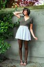 Blue-skirt-pink-shoes-black-top-black-tights