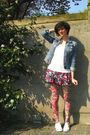 Pink-tights-pink-skirt-white-t-shirt-blue-jacket-white-shoes