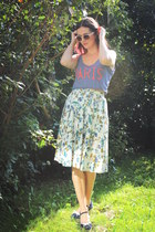 sky blue skirt - white sunglasses - navy wedges
