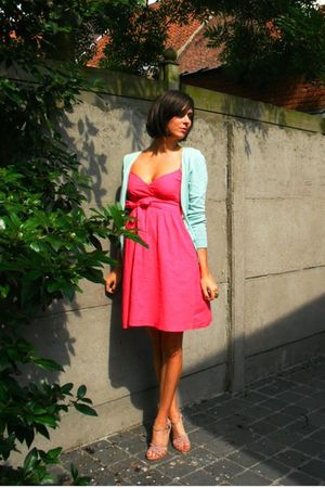 pink dress - pink shoes - blue cardigan