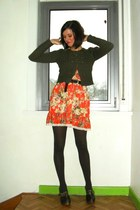 army green cardigan - carrot orange dress - dark brown - dark brown tights