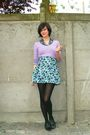 Blue-skirt-purple-sweater-blue-shirt-black-tights-black-shoes