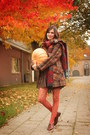 Navy-dress-dark-brown-coat-carrot-orange-accessories