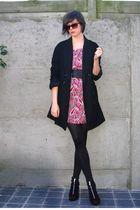 pink dress - black coat - black shoes - black belt - black glasses