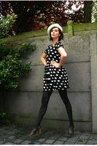 black dress - black tights - brown shoes - white hat