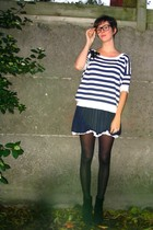 top - dress - tights - boots - glasses - accessories
