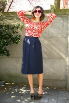navy skirt - red cardigan