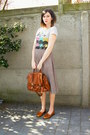 Burnt-orange-bag-heather-gray-skirt-silver-t-shirt-tawny-loafers