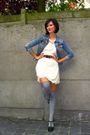 White-dress-blue-jacket-gray-socks-black-shoes-brown-belt