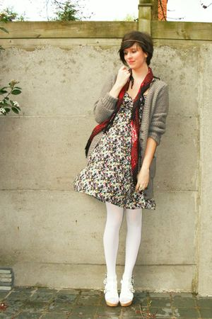 white shoes - beige dress - white tights - red scarf - beige cardigan