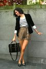 Brown-shorts-white-sweater-black-blazer-black-bag-blue-shoes
