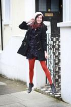 navy dress - dark gray boots - brick red tights
