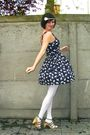 Blue-dress-white-tights-beige-shoes-gray-cardigan-white-accessories