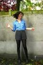 Brown-coat-blue-blouse-black-shorts-black-tights-gray-boots