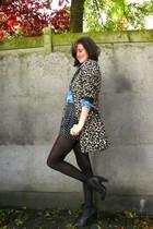 brown coat - blue blouse - black shorts - black tights - gray boots