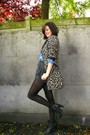 Brown-coat-blue-blouse-black-shorts-black-tights-gray-boots