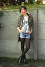 Brown-coat-silver-top-blue-shorts-black-boots