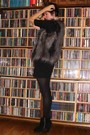 Black-dress-black-tights-black-boots-gray-vest-silver-accessories