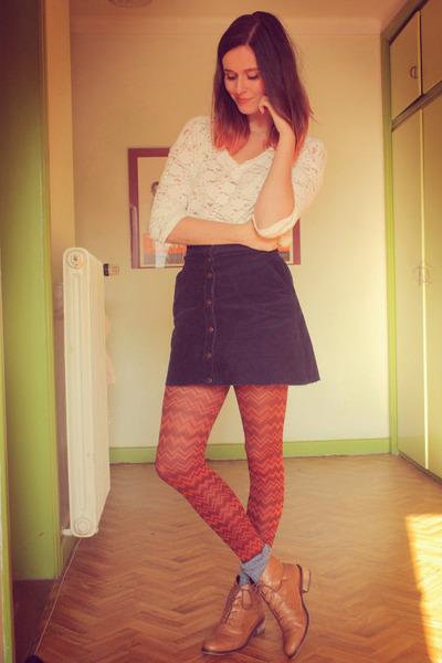 navy skirt - bronze boots - sky blue socks - white top - carrot orange cardigan