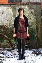 red dress - black coat - black boots - black bracelet - silver necklace