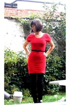 red H&M dress - black Sacha boots - black Pimkie belt - black Pimkie stockings