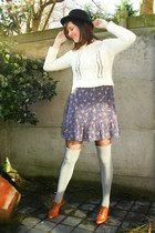 blue dress - black hat - ivory sweater - black tights - heather gray socks - taw