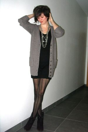 brown cardigan - black dress - black boots - silver necklace - black tights