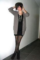 brown cardigan - black dress - black boots - silver necklace - black tights